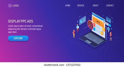 Display marketing, PPC advertising, marketing strategy development, 3D, isometric vector landing page with characters