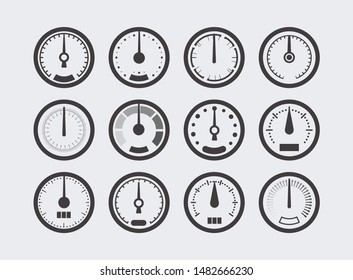 Display with measurement scale and arrow. Icon for measuring device. Meter for measuring speed, temperature, pressure, mass, humidity, car mileage. Bar level meter, vector illustration.