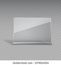 Display stand or acrylic table card holder isolated on transparent background. Vector empty flyer glass display. Plastic frame of photo, paper sheet mock up or restaurant menu for your design.