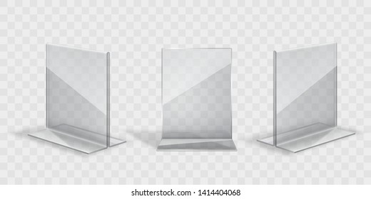 Display stand or acrylic table tent, card holder set isolated on transparent background. Vector empty flyer glass display. Plastic frame of photo, paper sheet mock up or restaurant menu.