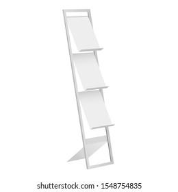 Display stand, holder for brochure, magazine, leaflet isolated on white background. Vector illustration