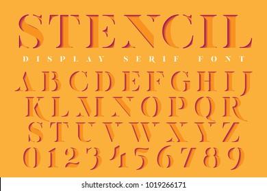 Display stencil serif antique font. Color paper cut typeface alphabet.