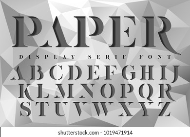 Display stencil serif antique font. Color paper cut typeface alphabet.