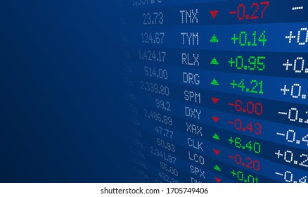 Display of Stock market quotes. Stock exchange board. Led digital display effect. Vector illustration.