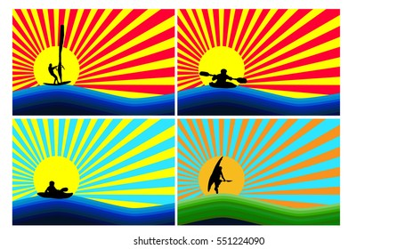 Display water sports on background simulating sunset and sunrise