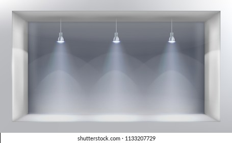 Display window. Empty space for exhibition. Vector illustration.