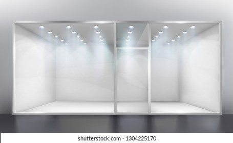 Display window. Space for exhibition. Empty shop. Vector illustration.