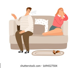 Displeased man. Tired woman on the couch. Family quarrel, verbal and psychological abuse vector illustration