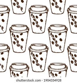 Disposable brown coffee cup. Pattern. Vector . Hand-drawn illustration. Doodle. Sketch. Isolated on a white background.