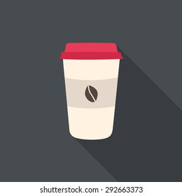 Disposable coffee cup with coffee beans. Flat design with long shadow.