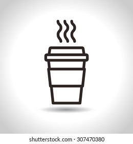 Disposable Coffee Cup Icon. Vector, flat design