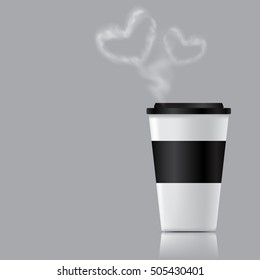 Disposable coffee cup illustration with blue cap, cup holder, steam, and shadow on gray background. To go vector coffee cup.
