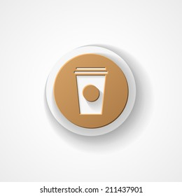 Disposable coffee cup web icon on white background