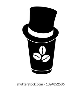 disposable cup of coffee icon. cafe logo.  disposable cup for cafe typography design.