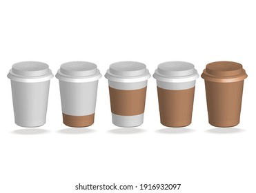 Disposable cup set for coffee templates to take home and editable for branding and labels. Realistic 3d design hot drink mug. The empty paper cup opens