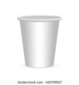 Disposable cups for water, coffee, tea, drink, soda. Isolated on white background.