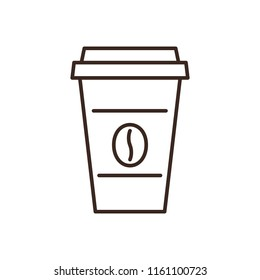 Disposable paper coffee cup linear icon isolated on white background. Take away hot drink vector illustration. Coffee shop design element. Cafe or restaurant menu symbol. Coffee house outline logo