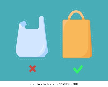 Disposable plastic bag and paper shopping bag images. Pollution problem concept. Cellophane package ban sign for stores and shops. Vector illustration, simple flat style.
