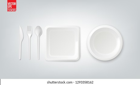 Disposable plastic dish ware plates and cutlery vector illustration. 3D realistic lunch box, spoon, fork or knife and food package container. Picnic party tableware isolated icons on white background