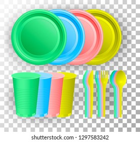 Disposable plastic tableware. Multi-colored glass cup, knife, fork and spoon. Vector illustration.