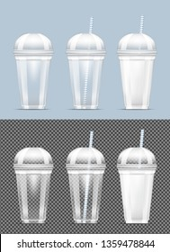 Disposable transparent plastic cup with milk.