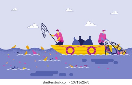 Disposal Garbage in Sea or Ocean Cartoon Flat. Male Volunteers Scavenge from Sea or Ocean While on Boat, with Help Nets and Put Garbage in Packages. Purification Water from Debris.