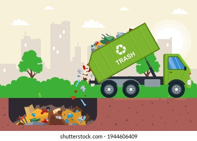 disposal of waste in a garbage pit. it is illegal to put garbage in. flat vector illustration.