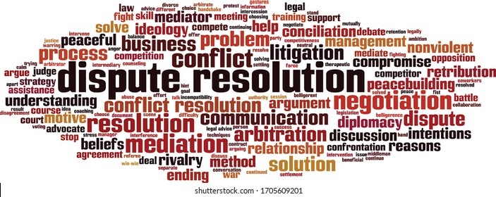 Dispute resolution word cloud concept. Collage made of words about dispute resolution. Vector illustration