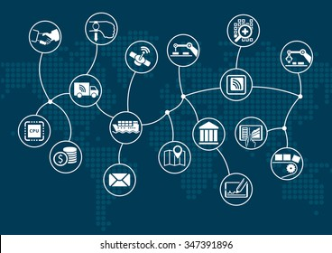 Disruptive digital business and industrial internet of things (industry 4.0) concept. Dark information technology background with world map.