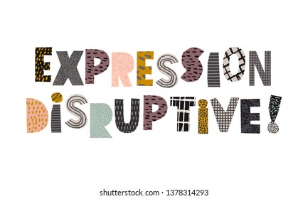 Disruptive expression collage vector sign for banner with french text