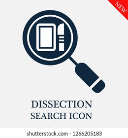 Dissection search icon. Dissection icon in magnifier icon. Editable Dissection search icon for web or mobile.