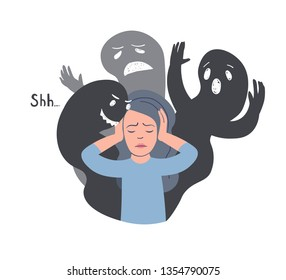 Dissociative Identity Disorder vector illustration. Woman with other faces silhouettes. Split Personality Disorder, Borderline Disorder, Schizophrenia. Mental illness.