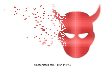 Dissolved daemon head dotted vector icon with disintegration effect. Square pieces are combined into dissipated daemon head shape.