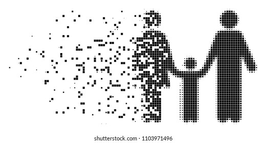 Dissolved family child dot vector icon with disintegration effect. Rectangular dots are arranged into disappearing family child figure.