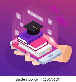 Distance education e-learning degrees advertising glow isometric composition with textbooks on smartphone in hand vector illustration