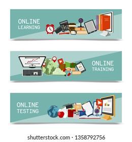 Distance education set of banners. Online courses, webinar, quizzing, e-learning, tutorials vector illustration. Desktop computer, headphones, keyboard, calculator, tablet.