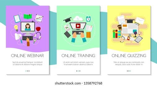 Distance education set of banners. Online courses, webinar, quizzing, e-learning, tutorials concepts vector illustration. Desktop computer, headphones, keyboard, calculator.