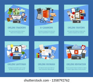 Distance education set of cards, banners. Online courses, webinar, quizzing, e-learning, tutorials and lectures vector illustration. Desktop computer, headphones, keyboard, tablet.