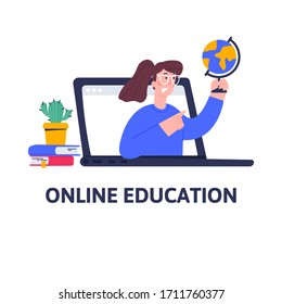 Distance geography lessons, video course, web seminar, internet class, personal teacher service for home education with female mentor. Online education for school and university concept in flat style