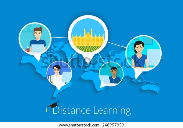 Distance Learning Around World Vector Illustration Stock Vector Royalty Free 248957959