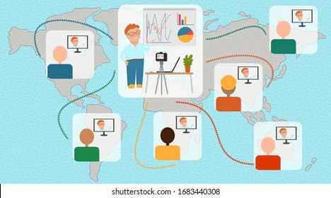 Distance learning. International education. The speaker is conducting an online seminar for users around the world. The teacher explains the lesson on the Internet.