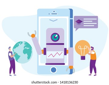 Distance Learning. Robot Bot on Phone Monitor. Lesson Online. E-Learning. Online Training. New Technologies. Vector Illustration. Tell Lecture. Communication with Bot. Robot Tell Information.