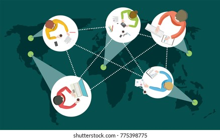 Distance learning or working around the world with students or employees from different countries online courses or work remotely  vector illustration
