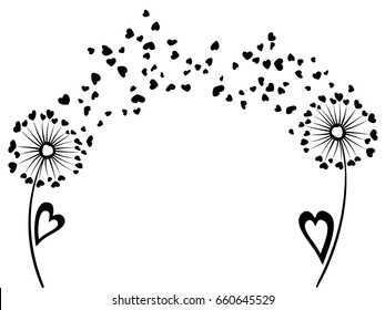 Distance love and romantic communication concept design. Dandelion flowers summer vector card. Heart shaped feather fluff, leaves, abstract flying petals.  Meadow blow ball illustration, print.
