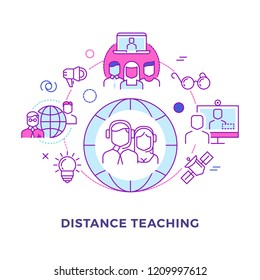 Distance teaching outline flat vector concept isolated on white