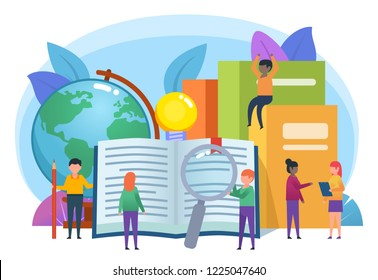 Distant education concept. Small people stand near big books, globe. Poster for web page, presentation, social media, banner. Flat design vector illustration