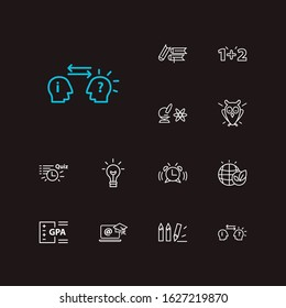 Distant education icons set. Psychology and distant education icons with gpa, math and alarm. Set of time for web app logo UI design.