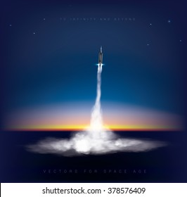 Distant view of rocket launch take off. during early sunrise in background  Vector graphic