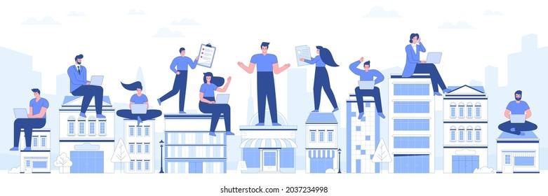 Fernarbeitskonzept Globales Outsourcing von Menschen mit Laptops, die Anrufe entgegennehmen Mitarbeiterberichte und Arbeitsaufgaben an Remote-ArbeiterInnen Vektorgrafik einzeln auf weißem Hintergrund