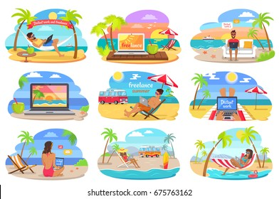 Distant work and freelance during summer on holidays at seaside in recliner, hammock attached to palms, on sand with laptop vector illustrations set.